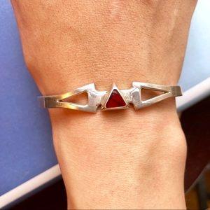Vintage Mexico sterling and jasper cuff bracelet